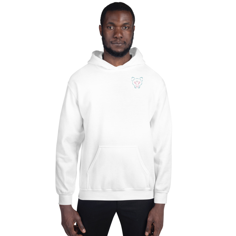 Unisex White with Colored Logo Hoodie