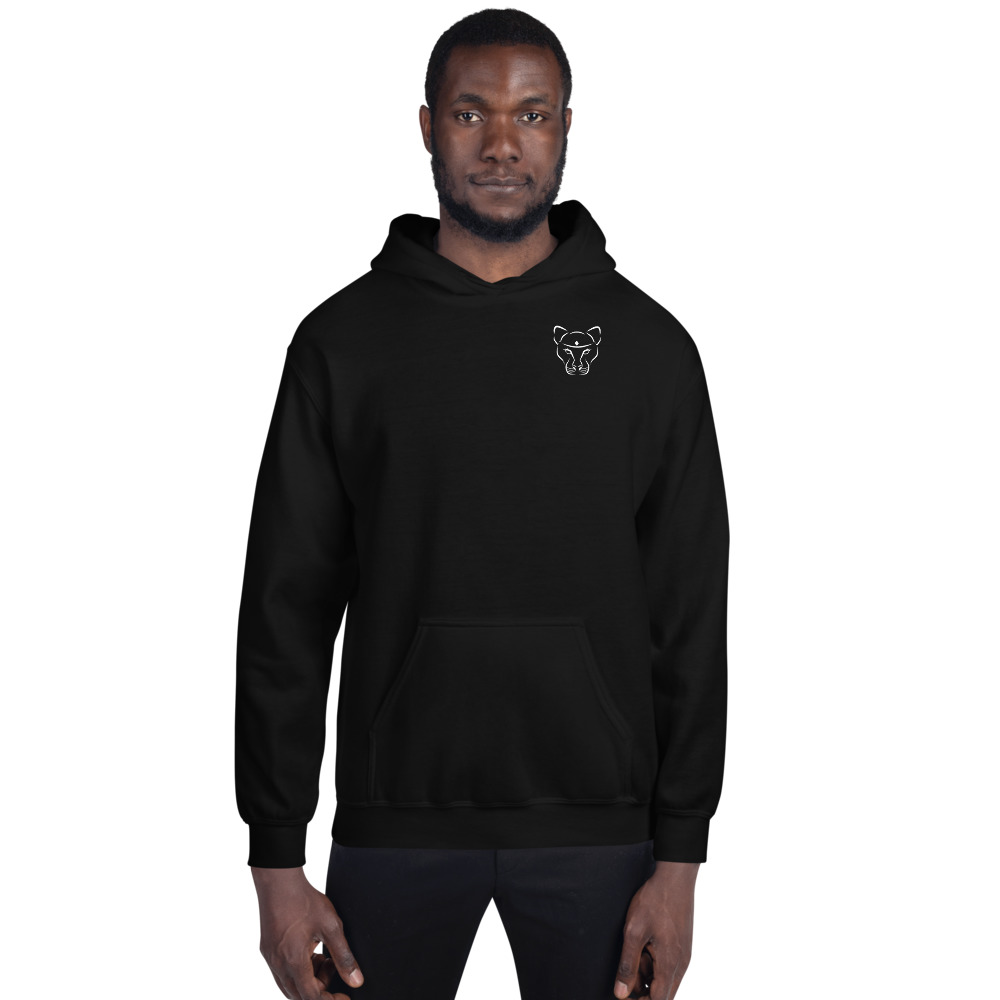 Unisex Black with White Logo Hoodie