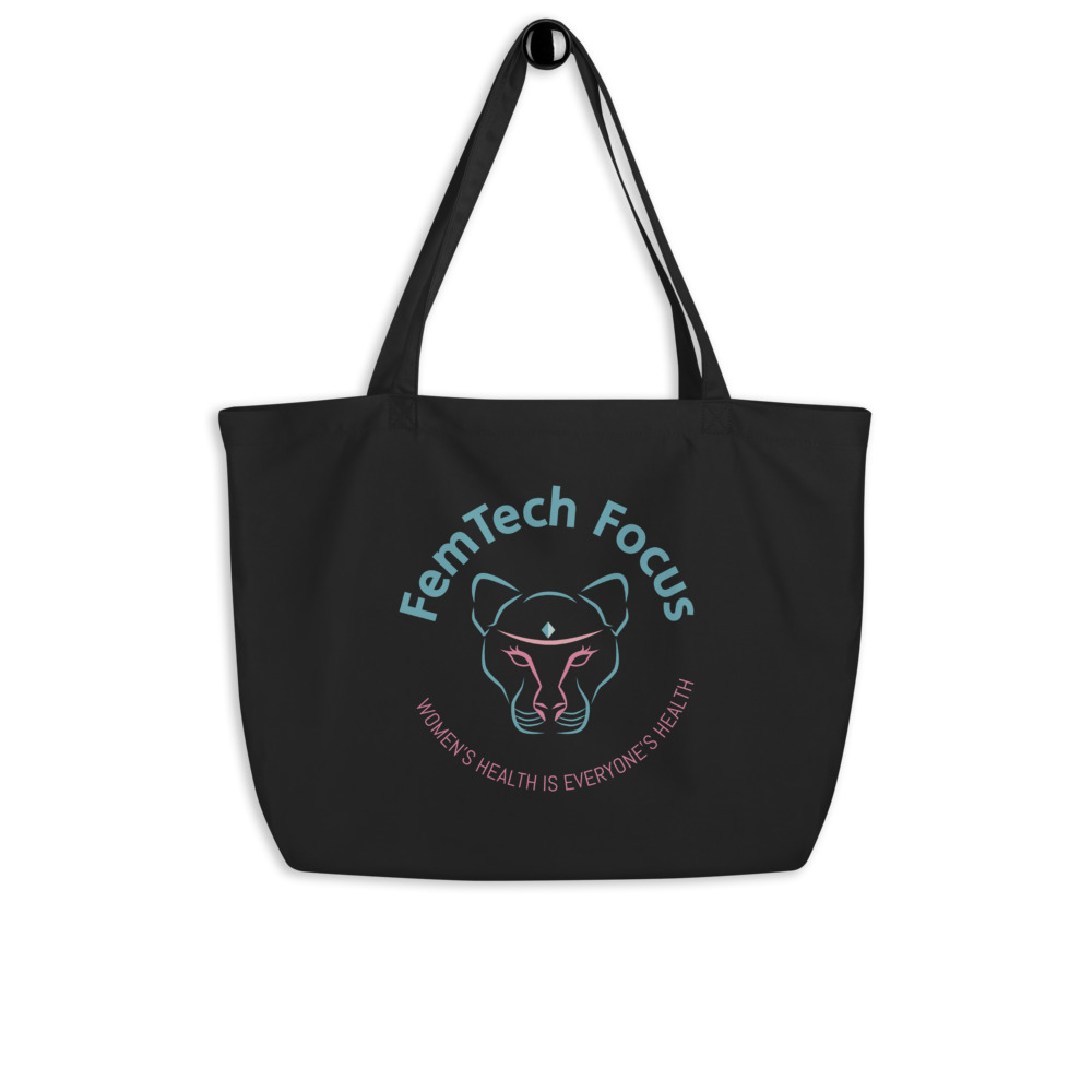 Large black organic tote bag with color logo
