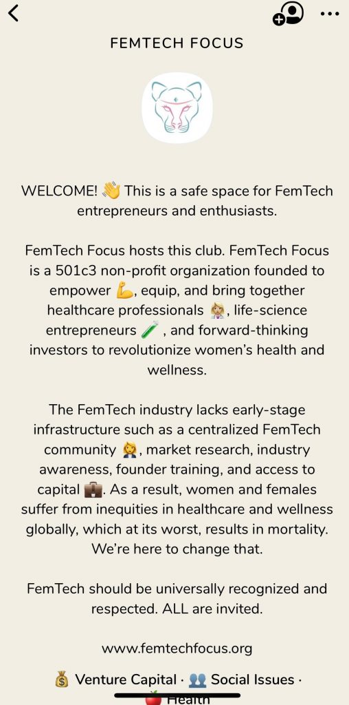 FemTech Clubhouse Group