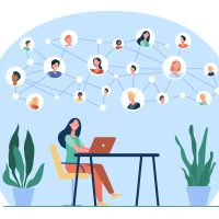 Happy woman chatting with friends online. Laptop, social media, desk flat vector illustration. Network and communication concept for banner, website design or landing web page